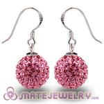 Cheap 12mm Pave Pink Czech Crystal Ball Sterling Silver Hook Earrings