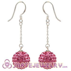 Cheap 12mm Pave Pink Czech Crystal Ball Sterling Silver Dangle Earrings