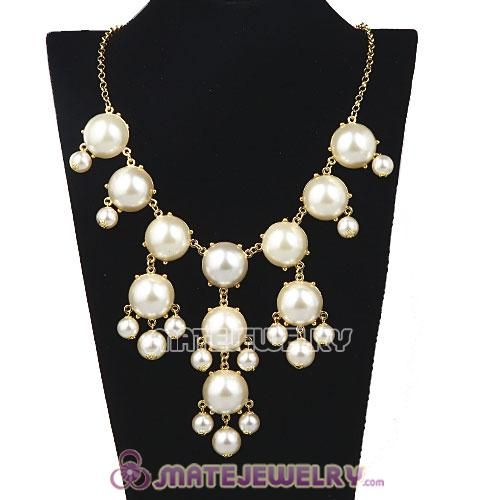 New Fashion Cream Pearl Bubble Bib Statement Necklaces Wholesale