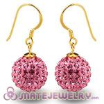 Cheap 12mm Pave Pink Czech Crystal Ball Gold Plated Silver Hook Earrings