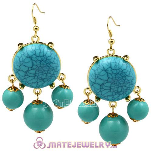 Fashion Gold Plated Turquoise Bubble Earrings Wholesale