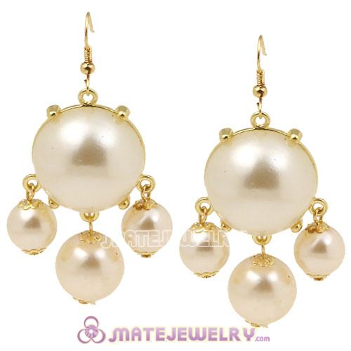 Fashion Gold Plated Cream Pearl Bubble Earrings Wholesale