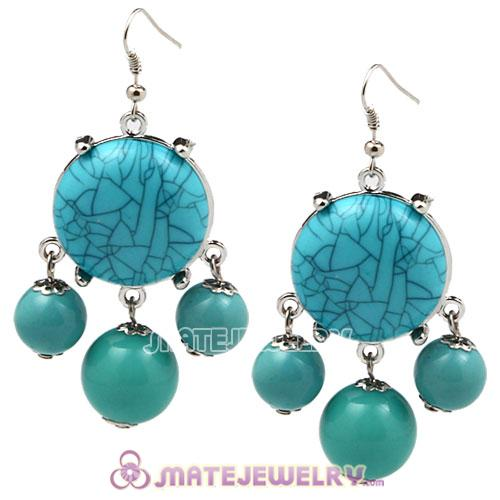 Fashion Silver Plated Turquoise Bubble Earrings Wholesale
