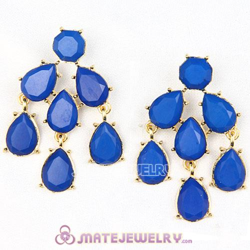 Fashion Gold Plated Dark Blue Resin Chandelier Earrings Wholesale
