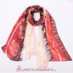 Fashion Office Lady Silk Scarf Textile Printing Pashmina Wool Scarves Shawls