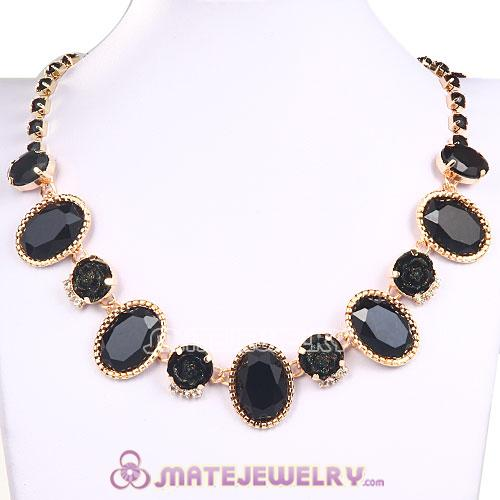 Black Resin Crystal Rose Flower Bubble Choker Bib Necklace