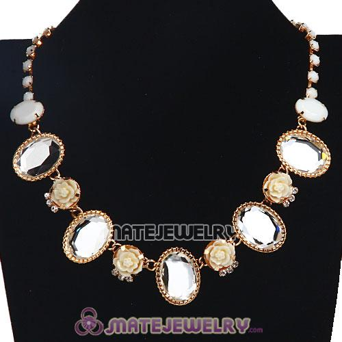 Crystal Resin Rose Flower Bubble Choker Bib Necklace