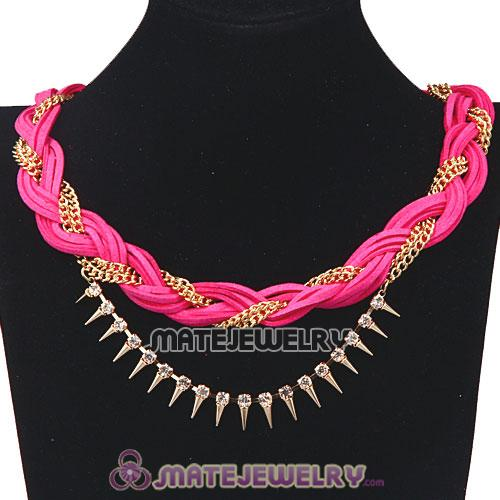 Wholesale Gold Chain Pink Braided Leather Collar Necklace With Crystal And Rivet