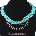 Wholesale Gold Chain Cyan Braided Leather Collar Necklace With Crystal And Rivet