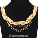 Wholesale Gold Chain Braided Leather Collar Necklace With Crystal And Rivet