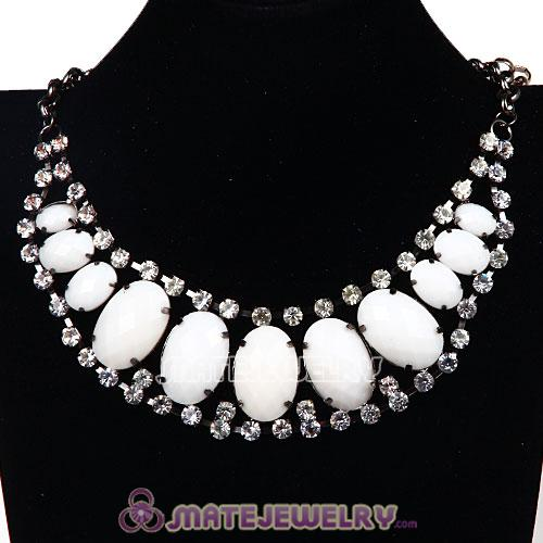 Ladies Chunky Statement Bib Necklace Rhinestone Crystal Resin Ellipse Necklaces