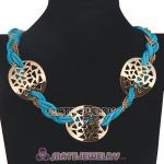 Wholesale Ladies Gold Chain Cyan Braided Leather Collar Necklaces