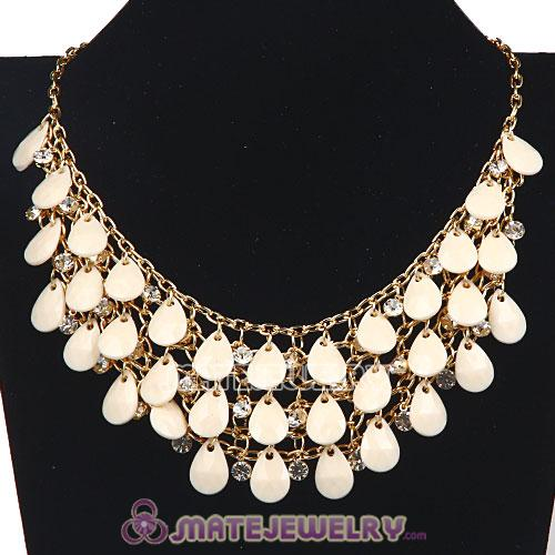 Multilayers Cascade Ivory Resin Crystal Bubble Bib Necklaces Wholesale