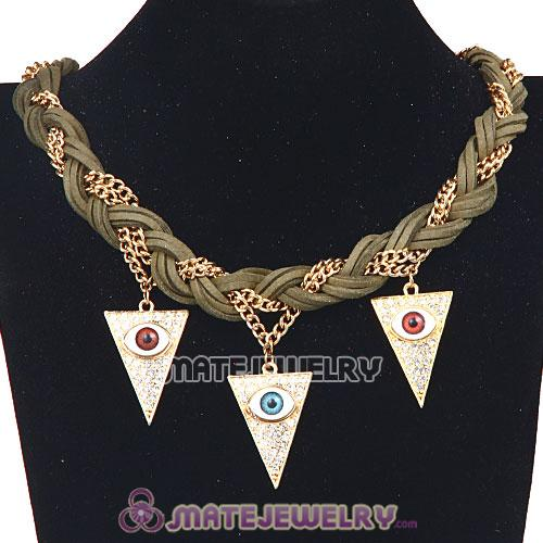 Wholesale Ladies Braided Leather Evil Eye Pendant Collar Bib Necklace