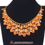 Multilayers Cascade Orange Resin Crystal Bubble Bib Necklaces Wholesale