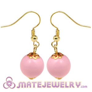 Fashion Gold Plated Pink Hoop Plastic Bubble Earrings Wholesale