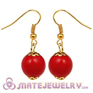 Fashion Gold Plated Coral Red Hoop Plastic Bubble Earrings Wholesale