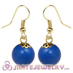 Fashion Gold Plated Dark Blue Hoop Plastic Bubble Earrings Wholesale