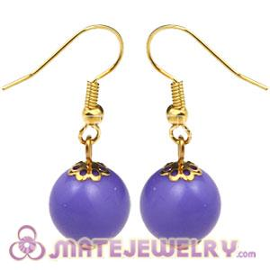 Fashion Gold Plated Lavender Hoop Plastic Bubble Earrings Wholesale