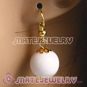 Fashion Gold Plated White Hoop Plastic Bubble Earrings Wholesale