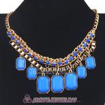 Wholesale Chunky Blue Resin Diamond Choker Bib Necklaces