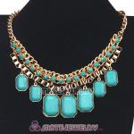 Wholesale Chunky Turquoise Resin Diamond Choker Bib Necklaces