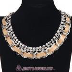 Wholesale Silver Chain Ladies Rhinestone Leather Chunky Choker Bib Necklace