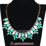 Turquoise Resin Rhinestone Crystal Marquess Lily Choker Bib Necklaces