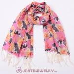 Extra Long Wool Flower Scarf Tassel Pashmina Wool Shawl Wrap
