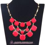 Wholesale Red Coral Resin Bead Trio Olivia Bib Necklaces