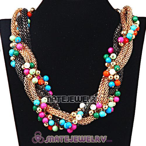 Wholesale Ladies Chunky Chain Beaded Choker Collar Necklace