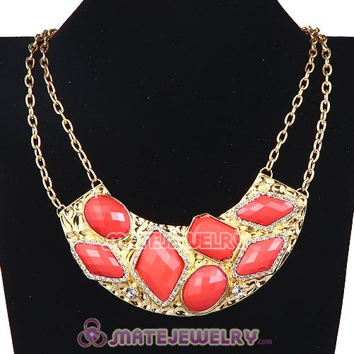Wholesale Golden Resin Geometry Crescent Choker Collar Necklace