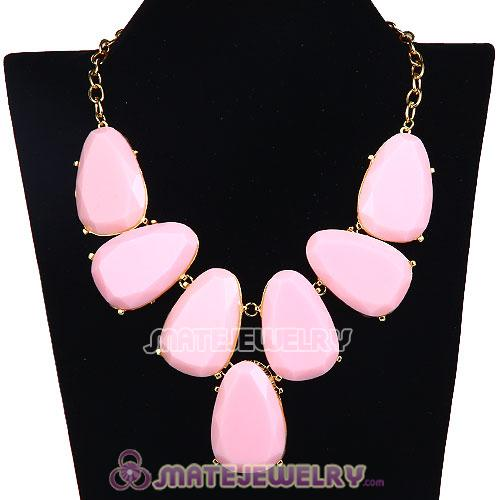 Wholesale Pink Chunky Resin Teardrop Choker Collar Necklace