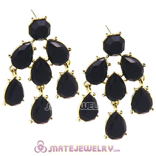 Fashion Gold Plated Black Resin Chandelier Earrings Wholesale