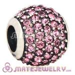 European Sterling Silver Pave Lights With Light Rose Austrian Crystal Charm