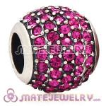 European Sterling Silver Pave Lights With Fuchsia Austrian Crystal Charm