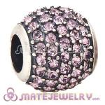 European Sterling Silver Pave Lights With Light Amethyst Austrian Crystal Charm