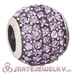 European Sterling Silver Violet Pave Lights With Violet Austrian Crystal Charm