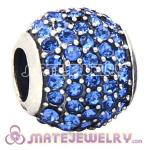 European Sterling Silver Sapphire Pave Lights With Sapphire Austrian Crystal Charm