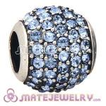 European Sterling Silver Light Sapphire Pave Lights With Light Sapphire Austrian Crystal Charm