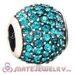 European Sterling Silver Blue Pave Lights With Blue Zircon Austrian Crystal Charm