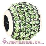 European Sterling Silver Peridot Pave Lights With Peridot Austrian Crystal Charm