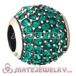 European Sterling Silver Emerald Pave Lights With Emerald Austrian Crystal Charm