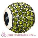 European Sterling Silver Olivine Pave Lights With Olivine Austrian Crystal Charm