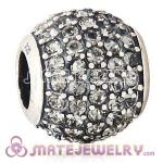 European Sterling Silver Black Diamond Pave Lights With  Black Diamond Austrian Crystal Charm