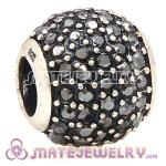 2013 European Sterling Silver Jet Hematite Pave Lights With Jet Hematite Austrian Crystal Charm