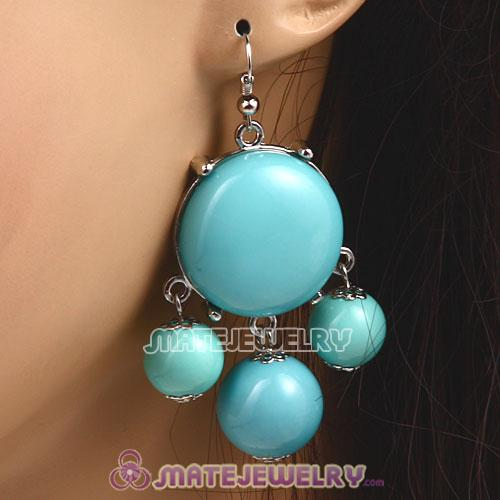 Fashion Silver Plated Drop Turquoise Bubble Earrings Wholesale
