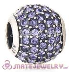 2013 European Sterling Silver Tanzanite Pave Lights With Tanzanite Austrian Crystal Charm