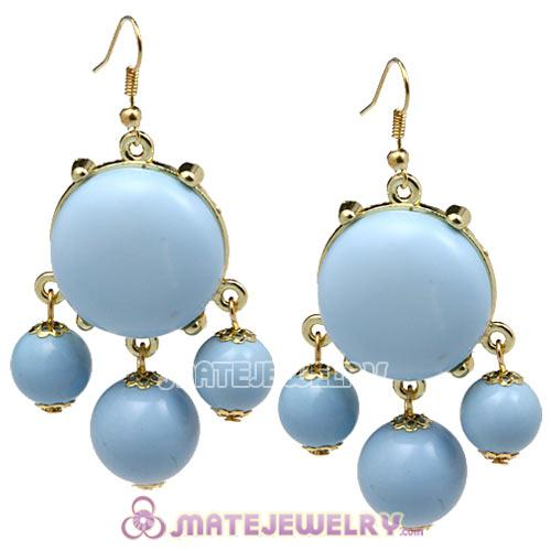Fashion Gold Plated Morning Sky Blue Drop Bubble Earrings Wholesale