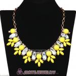 Yellow Resin Rhinestone Crystal Marquess Lily Choker Bib Necklaces